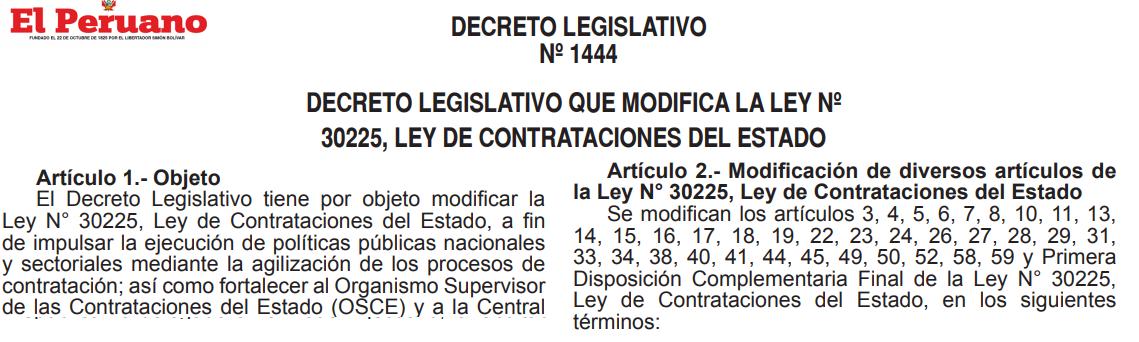 Decreto Legislativo 1444 que modifica la Ley 30225 Ley de Contrataciones del Estado