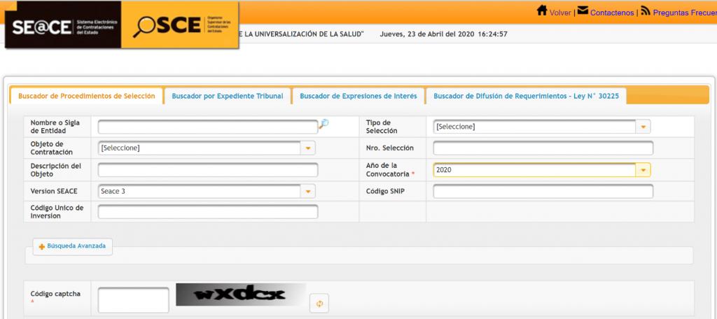 SEACE: portal web con información pública de contrataciones con el Estado