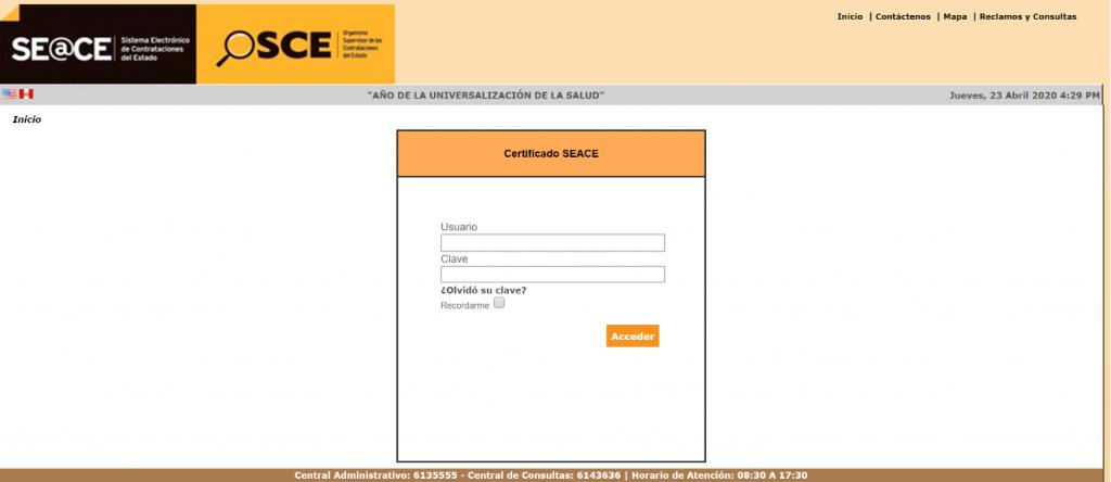 SEACE Sitio con acceso para proveedores y entidades del Estado